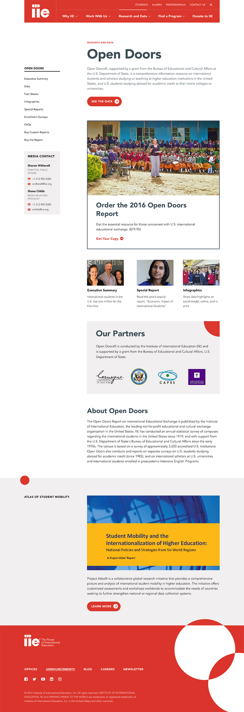 IIE Open Doors website page