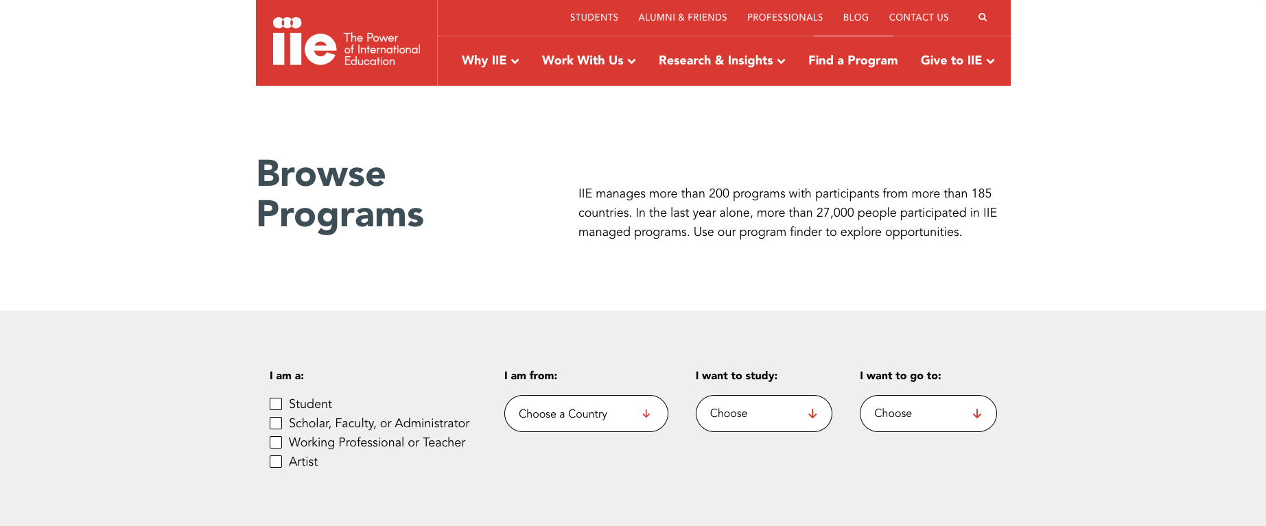 IIE Browse Programs page